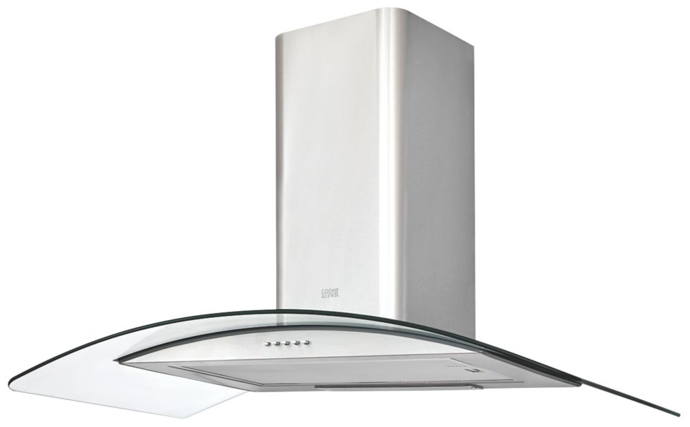 Cooke & Lewis CLCGS90 Curved Glass Hood Stainless Steel 900mm