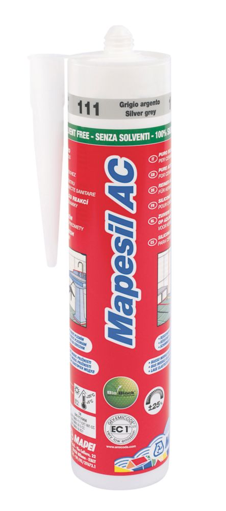 Mapei Mapesil AC 111 Solvent-Free Silicone Silver Grey 310ml