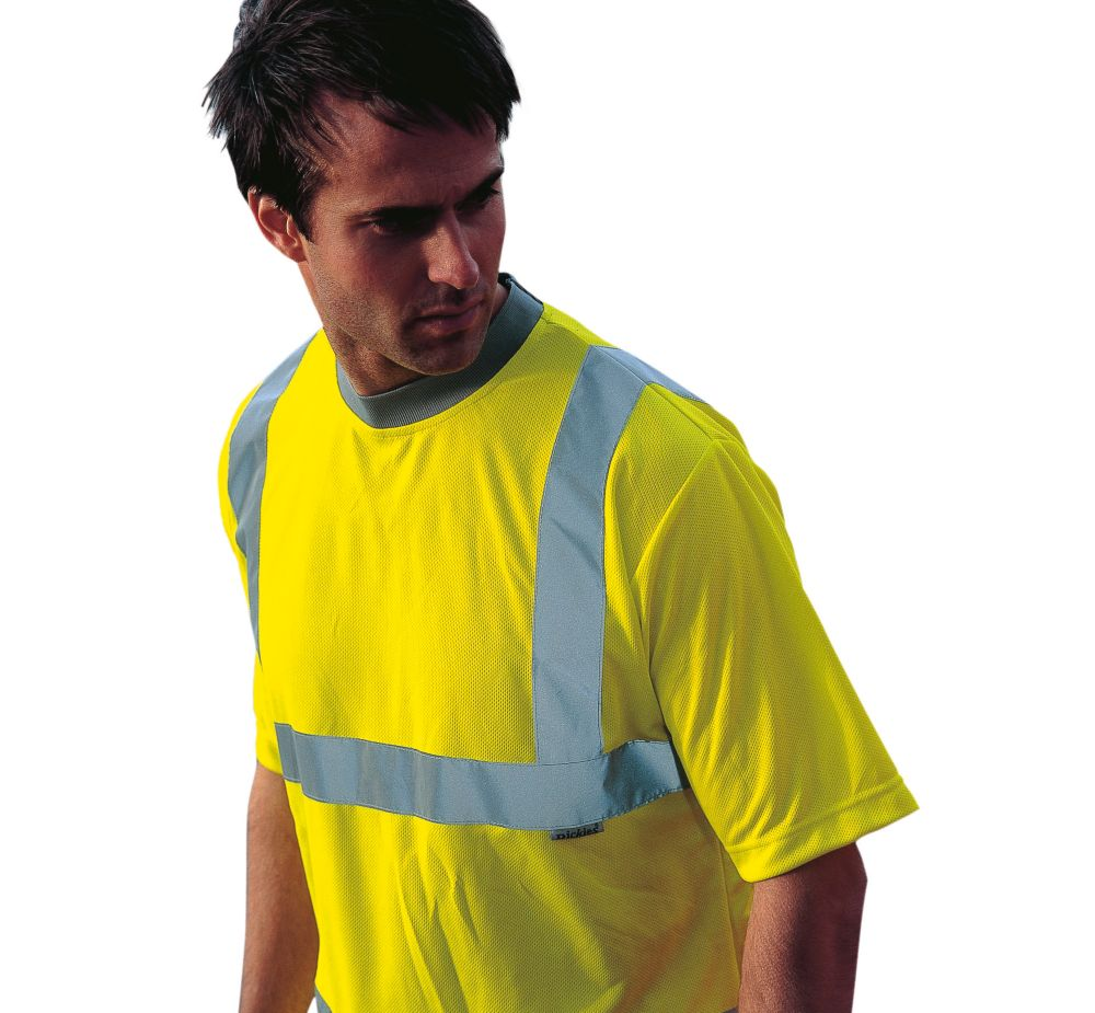 """Dickies  Hi-Vis Safety T-Shirt Saturn Yellow X Large 50"""" Chest"""