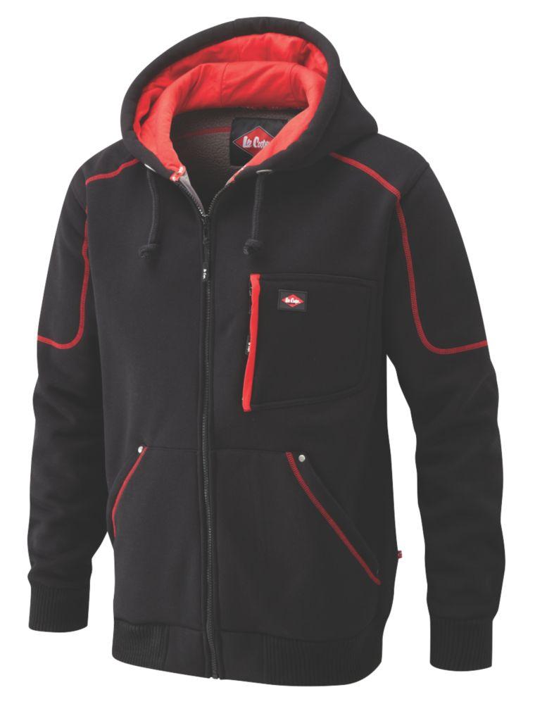"Lee Cooper 105 Hooded Fleece Jacket Black/Red Medium 40"" Chest"