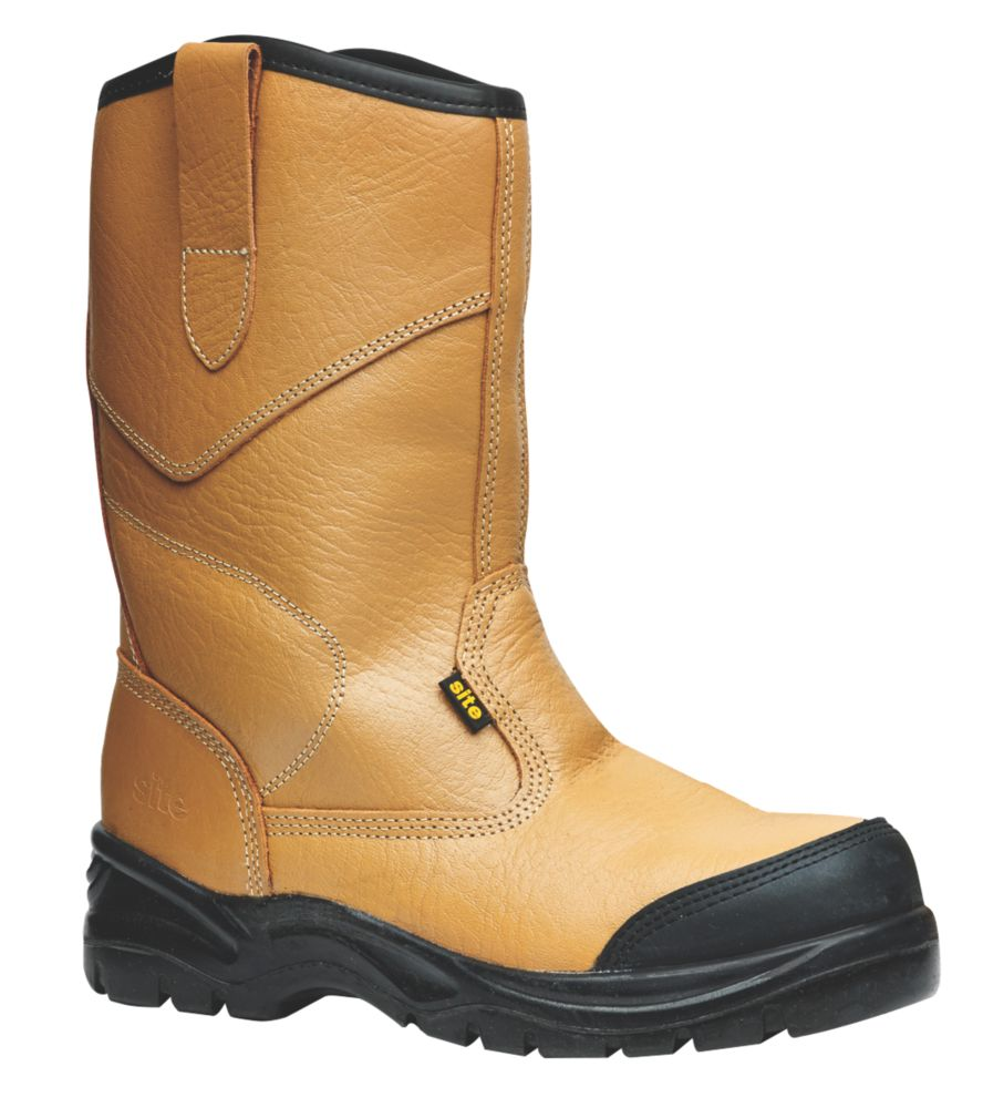 Site Gravel   Safety Rigger Boots Tan Size 6