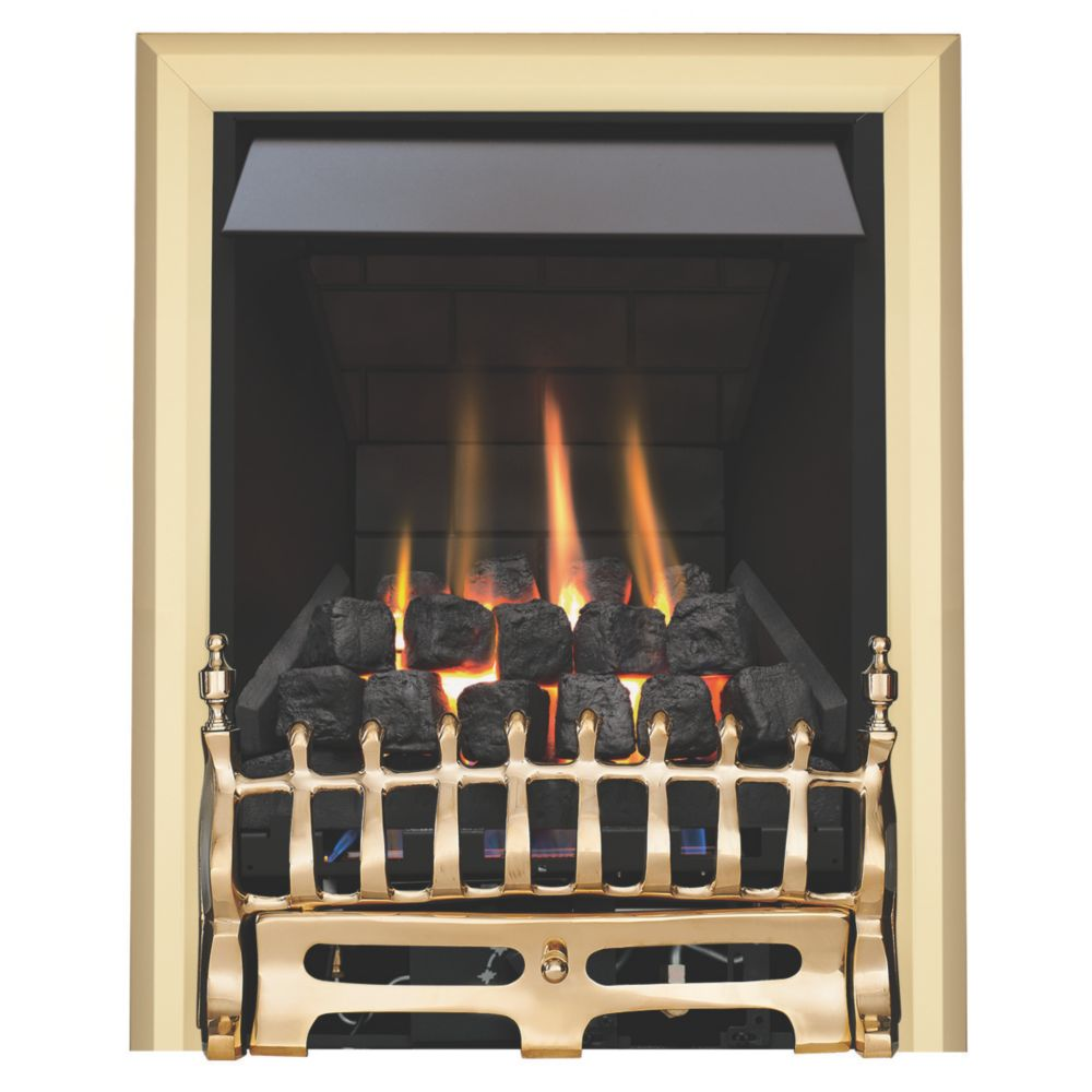 Focal Point Blenheim Brass Rotary Control Inset Gas Multiflue Fire