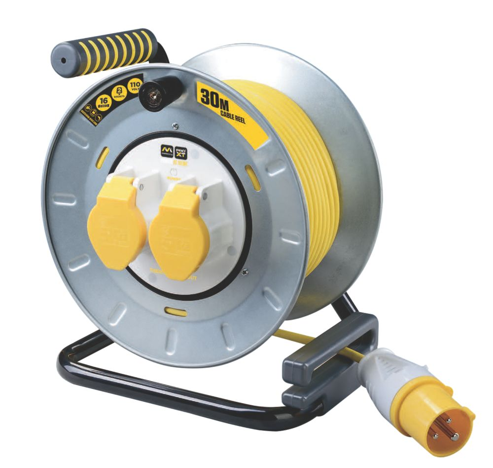 PRO XT OTMU30162LV-XD 16A 2-Gang 30m Cable Reel 110V
