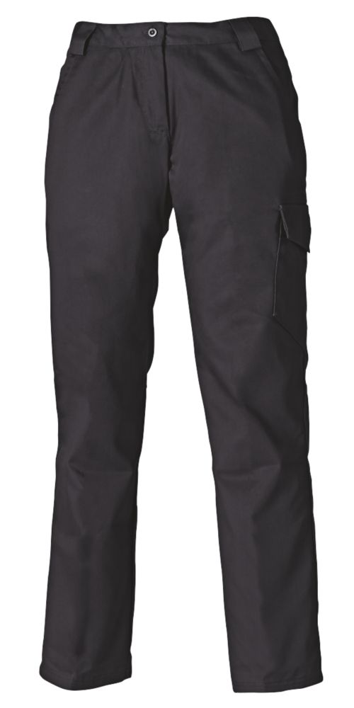 "Dickies Redhawk Ladies Trousers Black Size 10 31"" L"