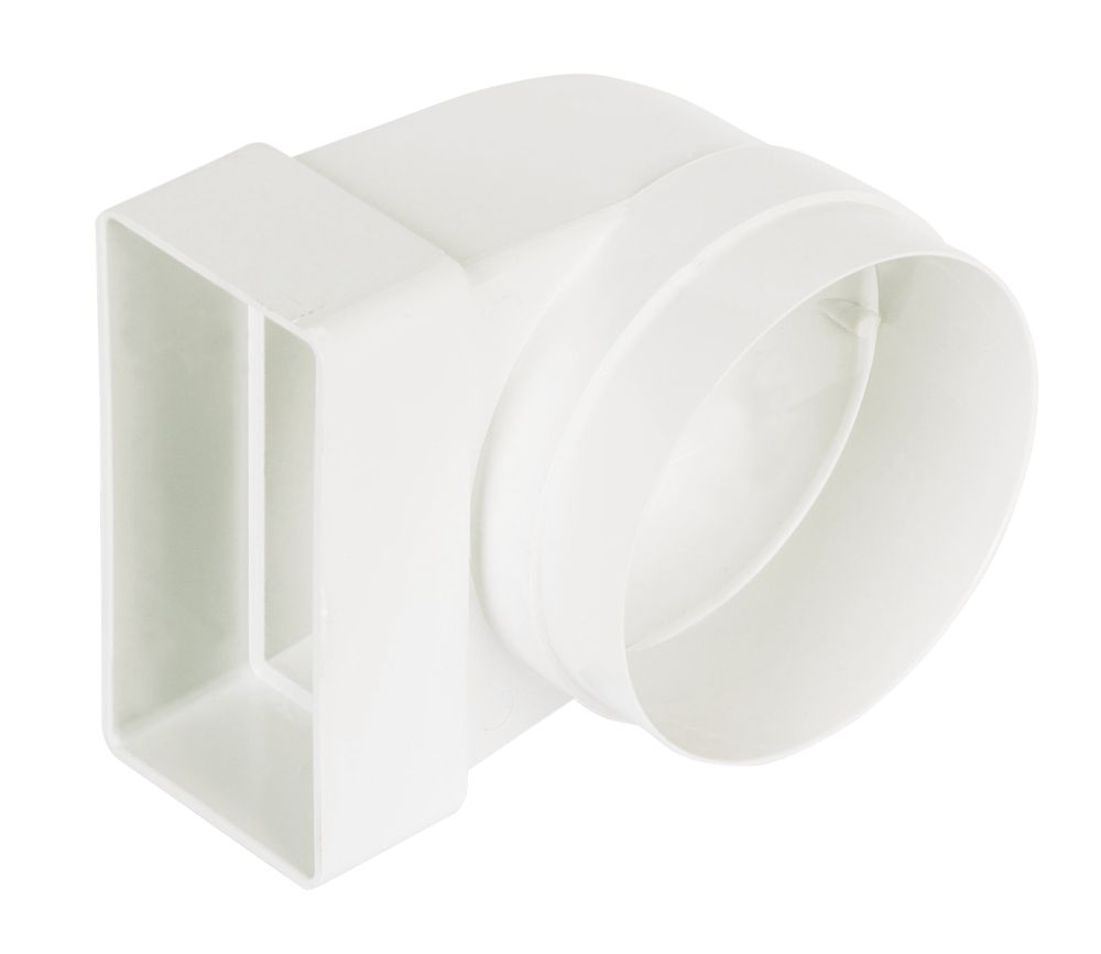 Manrose Round to Rectangular Connector Elbow 90° Bend Adaptor White 100mm