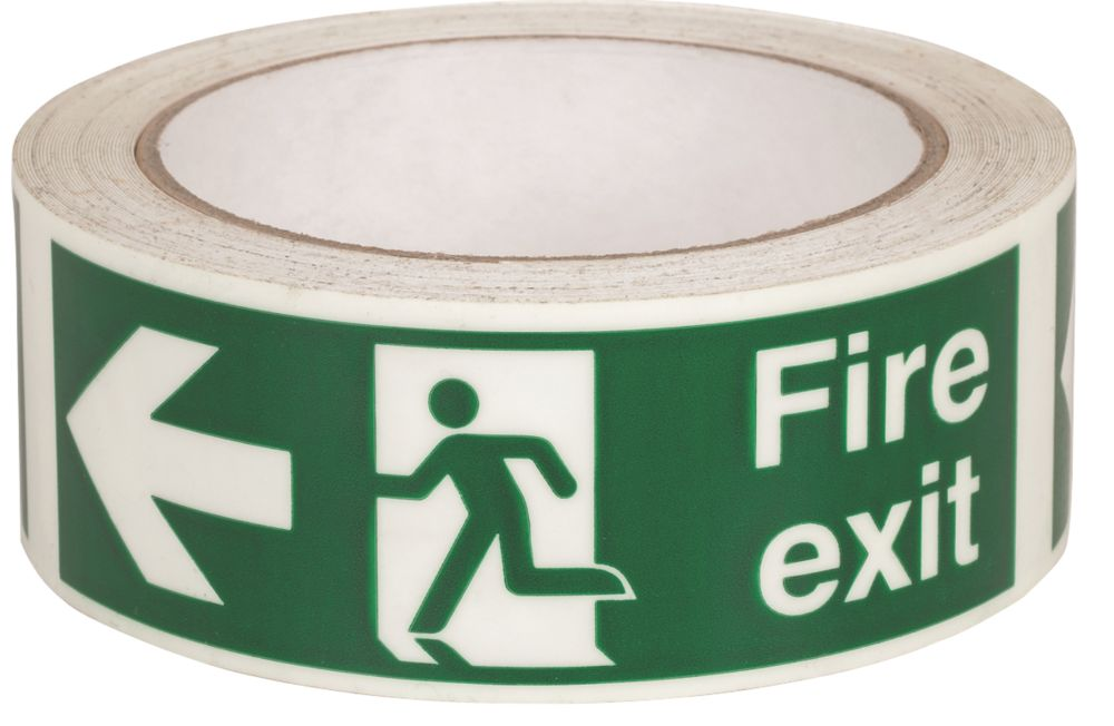 Nite-Glo Fire Exit Left Tape Green & White 10m x 40mm