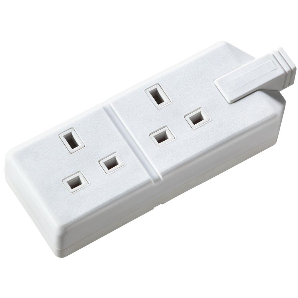 Masterplug 13A 2-Gang Rewireable Socket White