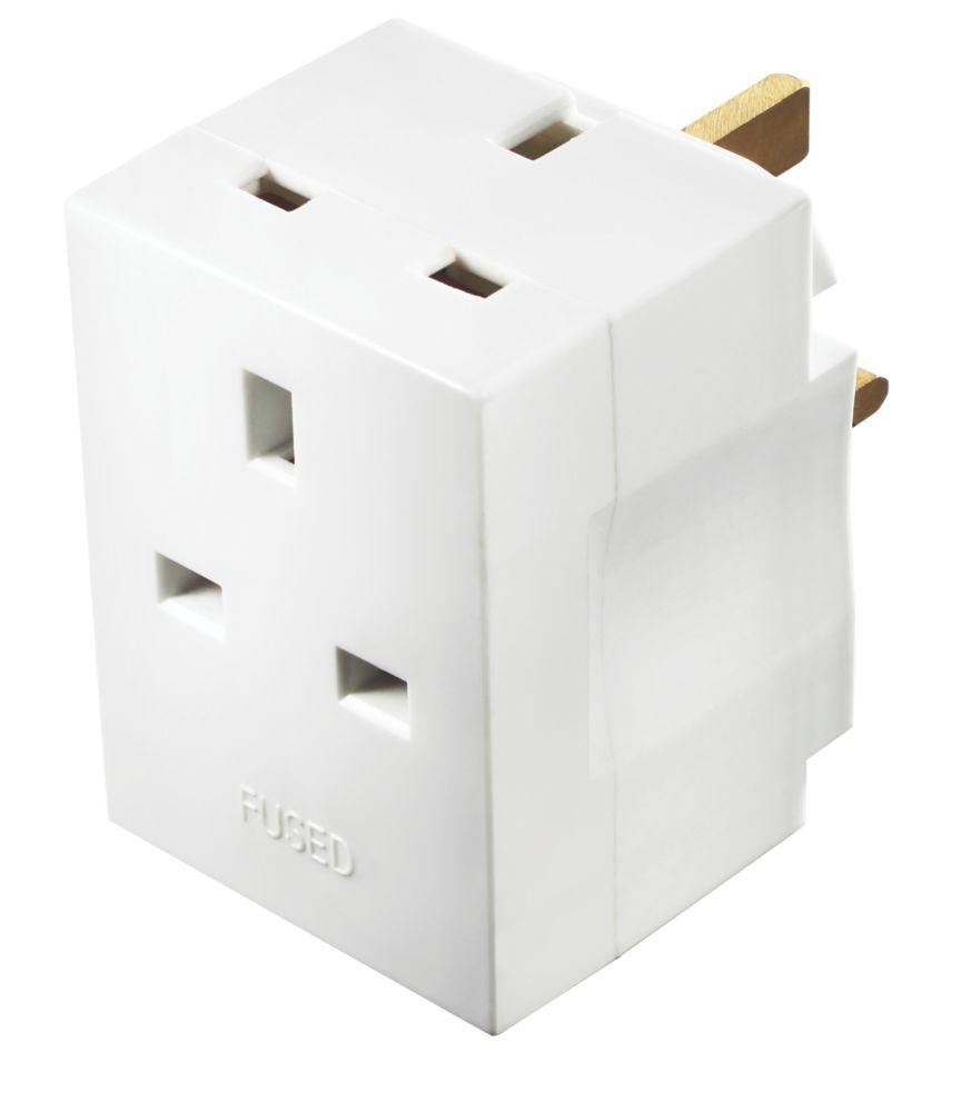 Masterplug 13A Fused 3-Way Plug Adaptor