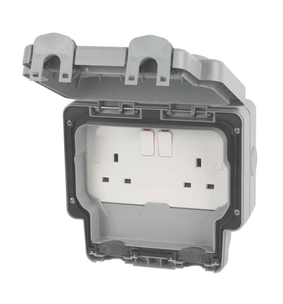 MK  IP66 13A 2-Gang DP Weatherproof Outdoor Switched Socket