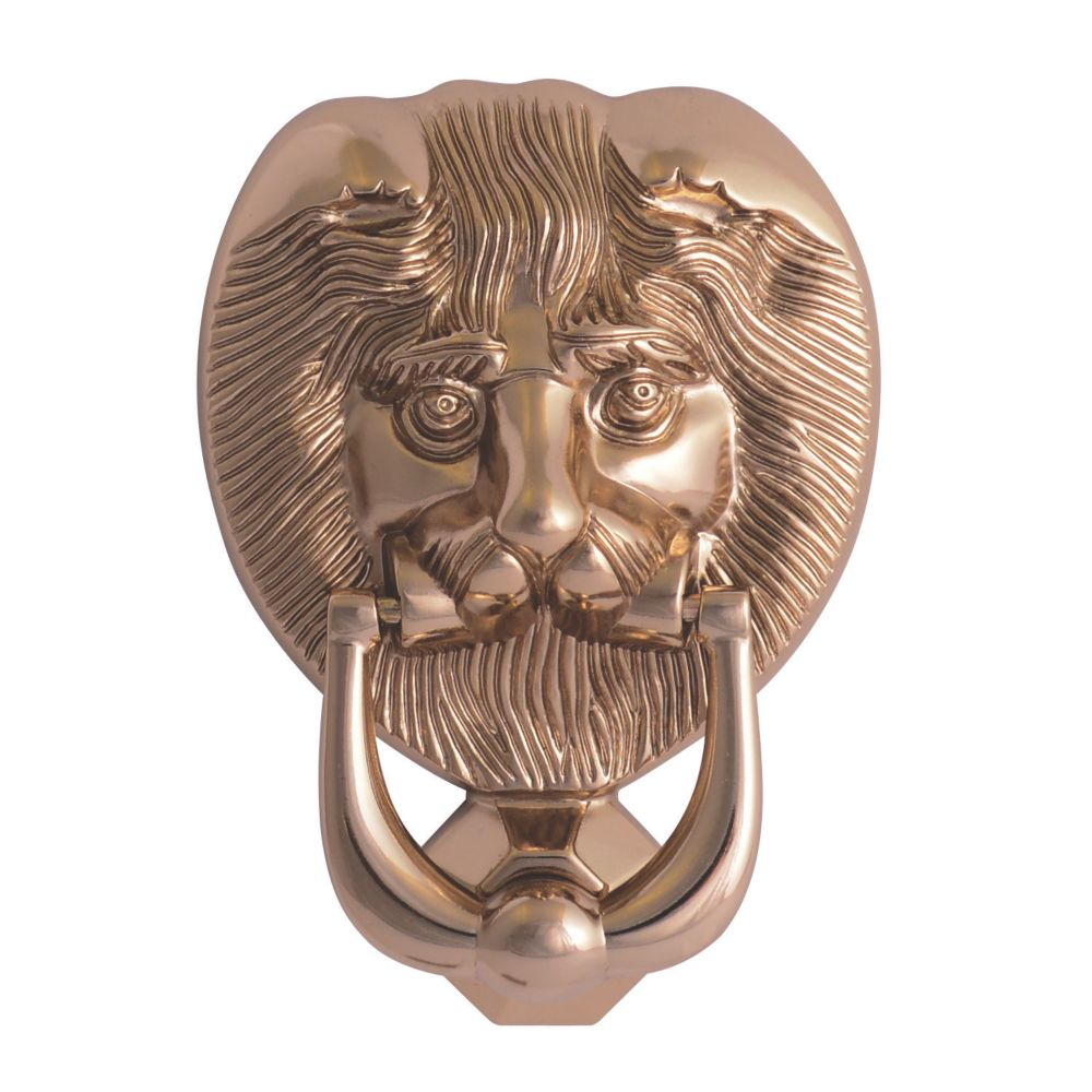 Fab & Fix Lions Head Door Knocker Polished Gold 98 x 136mm
