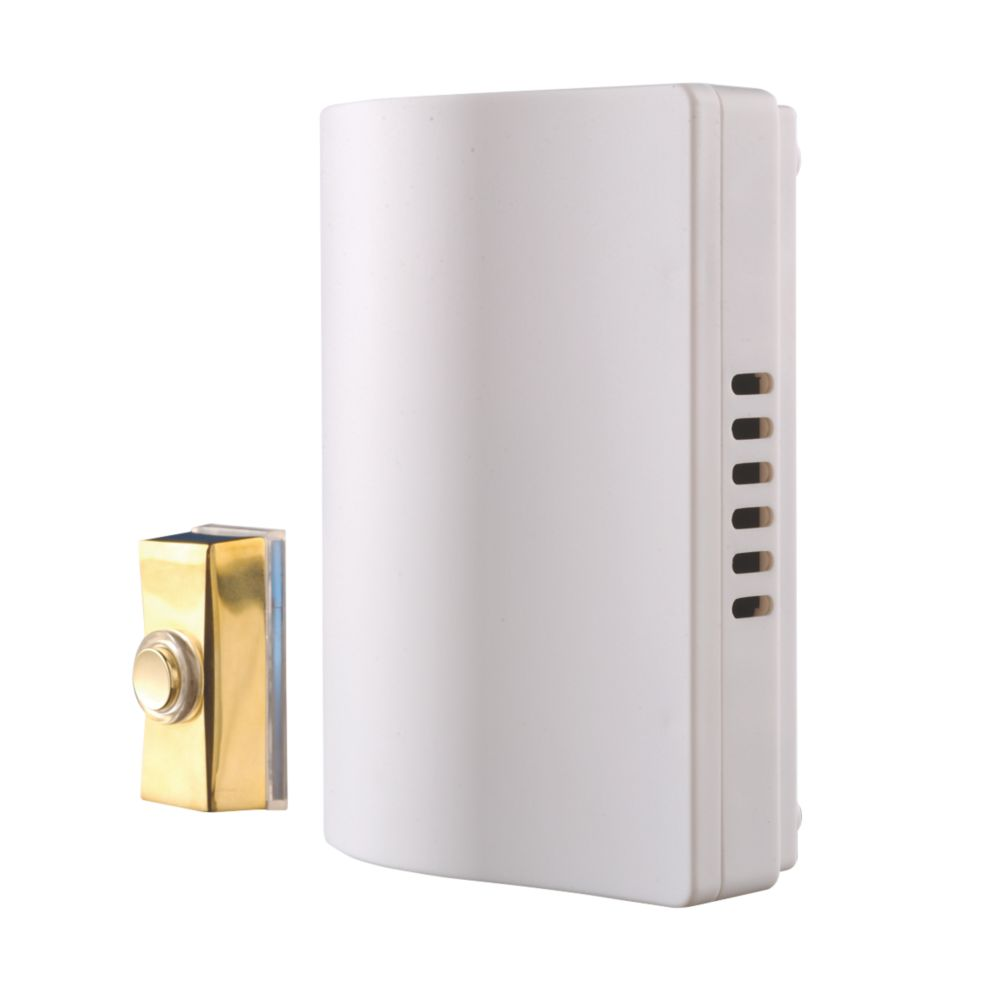 Byron 765S Wired Wall-Mounted Doorbell Kit with Bell Push Brass