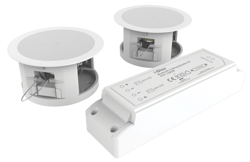 "iStar  Wireless Compact Ceiling Speaker Kit  White 3.3"" 6W RMS"