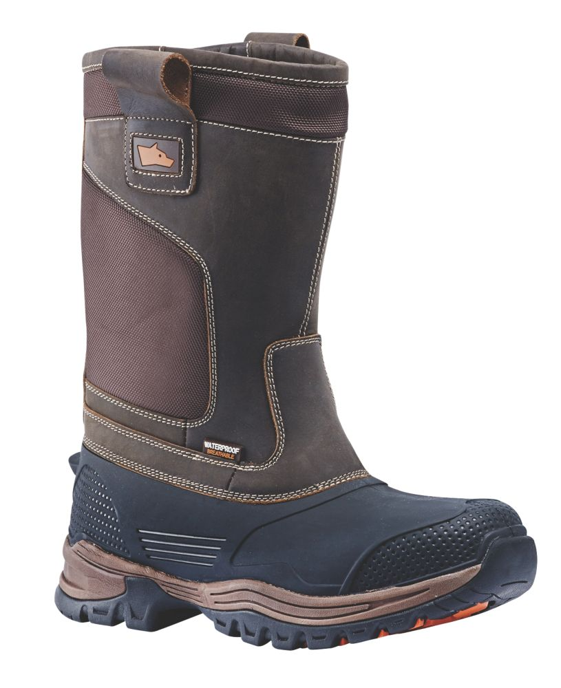 Hyena Nevis   Safety Rigger Boots Brown Size 10